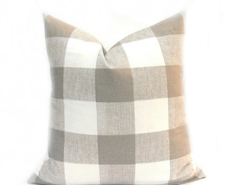 15% Off Sale Tan Pillow, Buffalo Check Pillow, Decorative Pillows, Plaid Pillow ,  Throw Pillows , tan pillow cover, Home Decor, Cushion Cov