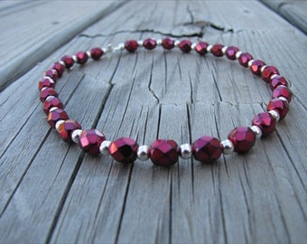 Metallic Red and Silver Beaded Ankle Bracelet