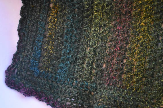 Deep Green Lacy Cat Mat -- Crochet Cat Blanket in Emerald with Goldenrod, Magenta, & Blue Detailing