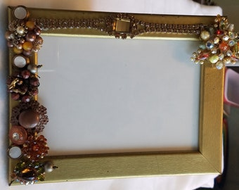 Embellished vintage jewelry and button picture frame