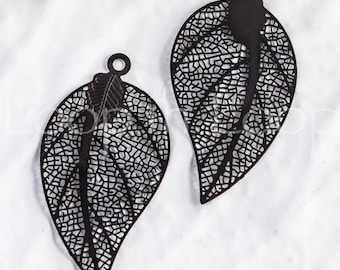 25%OFF Filigree Leaf Charm,  Large Laser Cut Black leaves Connector, thin and light Earring Charm, Metal Pendant - 2 pcs