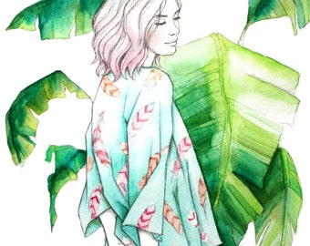 Print of original watercolor painting of girl in a kimono. Fashion illustration, feathers, tropical leaves, pink, mint, green, drawing, art