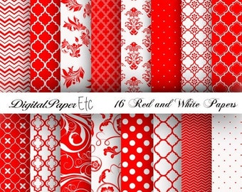 Sale Red and White Digital Papers, Red Digital Paper Pack, Red and White Scrapbooking, Red and White, Red and White Printable Paper Pack, No