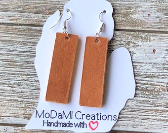 Leather earrings, handmade earrings, genuine leather, bar, nickle free, camel, dangle earrings, drop earrings, lightweight