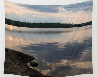 Wall Tapestry, Cloud Reflection, Lake Tapestries, Wall Hanging, Water Images, Boundary Waters, Calm Sunset, Nature Photography, Natural