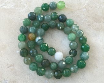 Green Agate Beads, Jade Green, round, faceted, 15 inch strand, 8mm