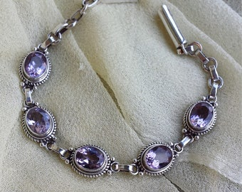 Sterling silver amythyst bracelet