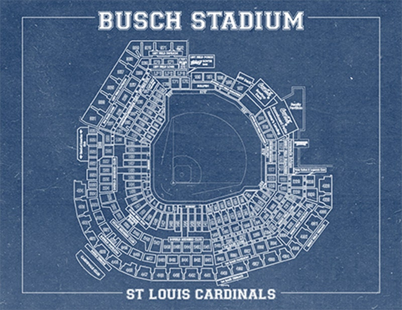 Busch stadium vintage baseball field print blueprint photo paper busch stadium vintage baseball field print blueprint photo paper matte or canvas sports cardinals st drawing memorabilia wall art decor malvernweather Image collections