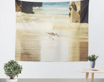 Seagull Tapestry - Bird Tapestry - Beach Wall Hanging - Bird Wall Tapestry - Tan and Blue - Bird Wall Art - Beach Wall Art - Dorm Tapestry