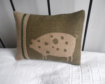 hand printed olive hessian piggy cushion