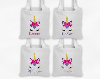 Unicorn with Bow Mini Tote Personalized Fantasy Party Favor Bags - Set of 4 Custom Gift Bags - Reusable Tote Bags with Unicorn Face
