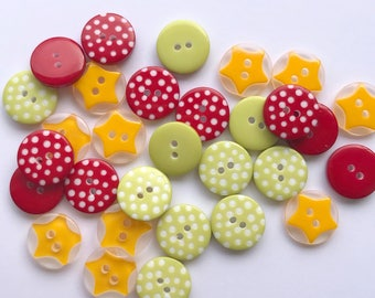 Christmas Button Mix -  Pack of 30 Buttons (12mm)