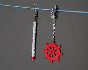 Assymetric earrings Mismatched earrings Long earrings Beaded earrings Wooden earrings Ship wheel earrings Bright Red earrings White earrings