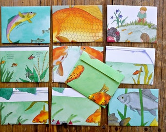 Goldfish Bowl - recycled book pages into envelopes