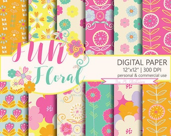 Floral Pattern Digital Paper Pack ' Fun Floral ' Scrapbook Paper Instant Download Commercial Use 12 x 12 Inches
