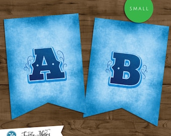 Small Blue Western Themed Banner :  Printable Banner All Letters 0-9 numbers, Bonus Extras