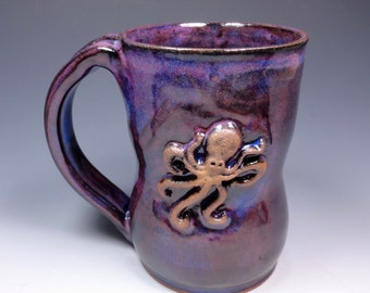 Octopus Handmade Pottery Mug Ceramic Stoneware Purple Blue Glaze