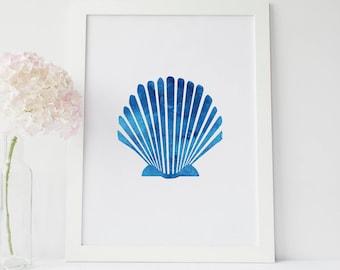 Sea Shell Art Print, Blue Print, Blue Shell Print, Beach Room Decor, Blue Wall Art, Seashell Artwork, Printable Wall Decor, Bathroom Artwork