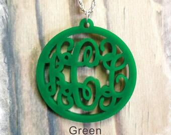 ACRYLIC Monogram Necklace - Vine Monogram 3 Initial Name Acrylic Monogram Jewelry , Custom Monogram Jewelry