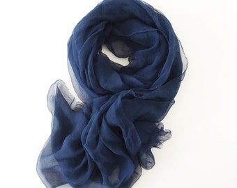 Navy Blue Silk Scarf, Sheer Lightweight Blue Gauze Scarf, Navy Scarf, Blue Silk Shawl, Extra Long, Large Silk Scarf, Bridesmaids Bridal
