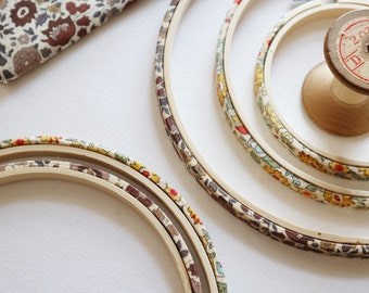 Decorative Embroidery hoop frames. Brown or yellow embroidery hoop. Tana Lawn Fabric Wrapped Embroidery Hoop. liberty arts fabric