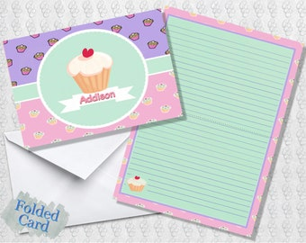 Cupcake Note Cards for Girls; Lined; Folded Card; Postcard; PDF; E-Card