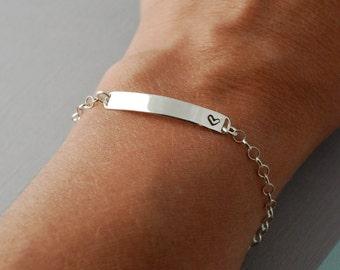 Sterling silver bar Bracelet, Anniversary bracelet, customized, hand stamped