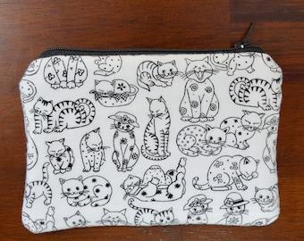 Cat Zipper Pouch, Sketchy Cats Wallet, Friendlty Feline Wallet, Cat Coin Purse