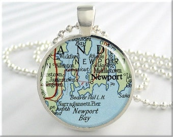Newport Map Pendant, Resin Charm, Newport Rhode Island Map Necklace, Picture Jewelry, Gift Under 20, Round Silver (745RS)