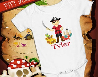 Personalized Pirate, White onsie , Snap bottom all in one bodysuit, treasure chest, parrot, pirate ship, crab