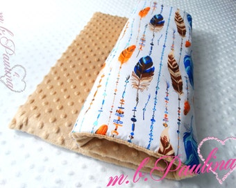 Spring baby blanket with cuddly light brown plush Minky, personalization possible