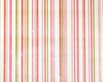 Retro Wallpaper by the Yard 70s Vintage Wallpaper - 1970s Pink White and Green Stripes