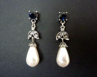 Sapphire Earrings Pearl Earrings Vintage Earrings Art Deco Earrings Great Gatsby Earrings Art Nouveau Earrings Drop Wedding Bridal Earrings