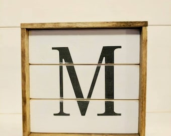 Rustic farmhouse inspired Ultra mini shiplap initial framed wood sign