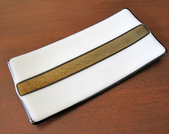 White and Gold Fused Glass Plate - White Glass Sushi Plate - Home Decor Gift