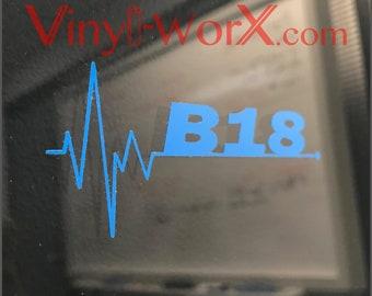 B18 Decal Sticker | Honda Acura Integra DC2 LS GSR Type R B20 B18B B18C Dohc Vtec Jdm engine Civic Ef Eg Ek Em Ej Crx B-Series swap swapped