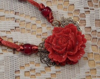 Rose Necklace Red Rose filigree necklace red resin flower glass beads