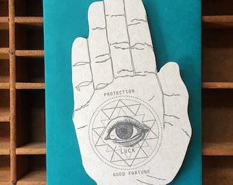 letterpress luck hand shaped card