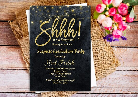 Items Similar To Shhh It S A Surprise Party Invitation Gold