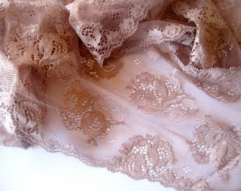 "Chocolate Extra Wide Lace, Brown, 6 1/2"" inch wide, 1 Yard For Apparel, Home Decor, Accessories, Mixed Media, Scrapbook"
