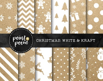 Christmas Digital Paper - White Kraft Christmas - Shabby Vintage Backgrounds Patterns - Printables - Commercial Use