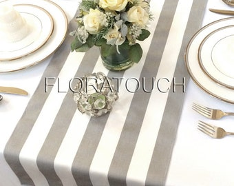Superieur White And Gray Stripe Table Runner Wedding Table Runner With Gray Stripes  On The Borders