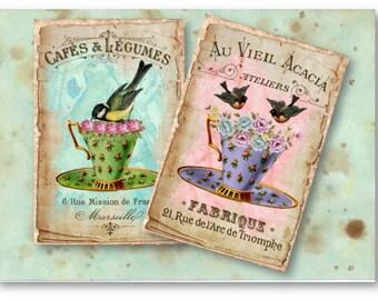 Tea Cups and Birds - Digital Collage Sheet Download -831- Digital Paper - Instant Download Printables