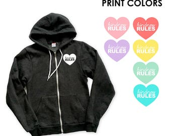 Kindness Rules Heart Zip Up Cardigan Hoodie Sweatshirt - Gift for friend, Love, Peace, Happy, Heart, Be Kind, Compassion, Positive Vibes