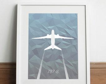 Boeing 787-8 Aircraft - Art print