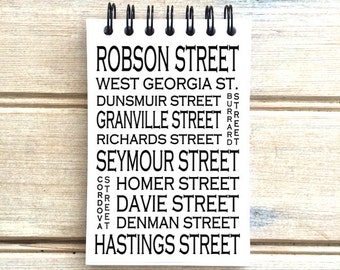 Downtown Vancouver B.C.  - Love This Place - Street Name Notebook - Busroll Notepad Journal Custom Gift - Canada