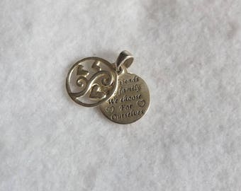 Vintage Sterling Silver 925 'Girlfriends Are Family We Choose For Ourselves' Round Engraved Pendant
