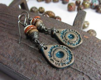 Long Earrings Dangle Boho, Mysterious Bohemian Earrings, Magical Ancient Handmade Earrings, Dangle and Drop, Copper Jewelry Handmade Boho