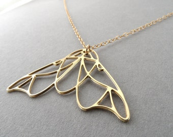 moth necklace moth jewelry gold moth necklace butterfly nature gift for her