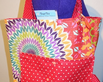Maxi tote bag fabric colorful dominant Red